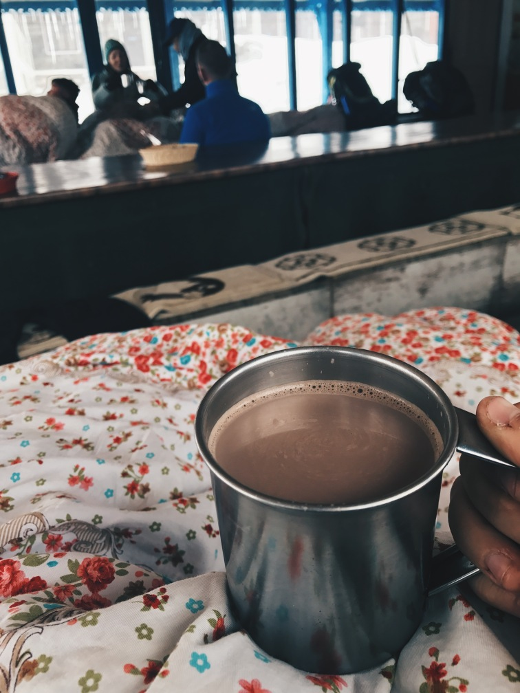 hot chocolate at a tea house in annapurna base camp
