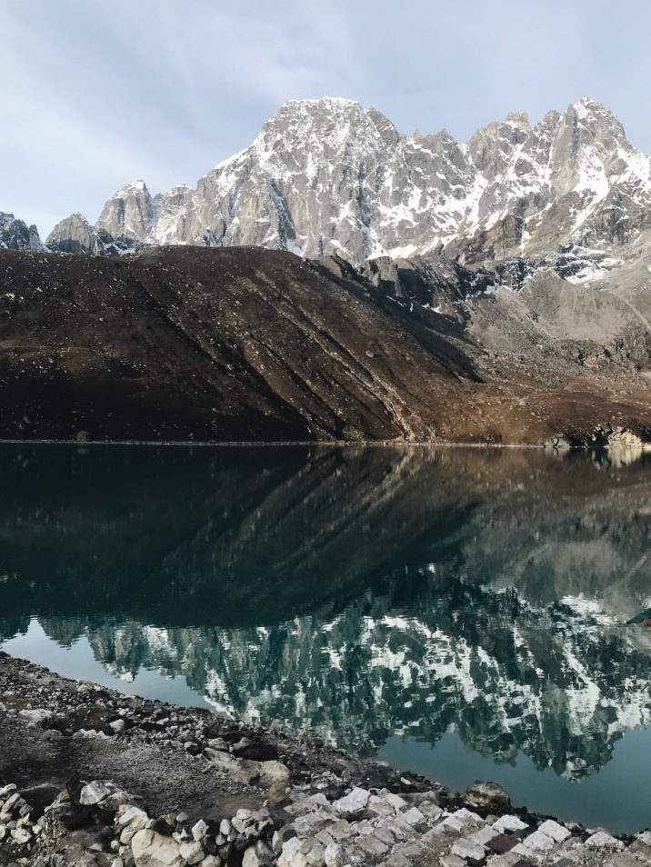 How to Trek the Three Passes Independently: reflection of mountains on lake