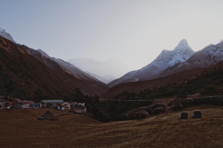 How to Trek the Three Passes Independently: mountains and teahouses during sunrise