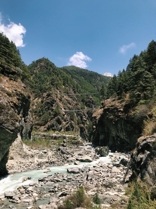 How to Trek the Three Passes Independently: two suspension bridges over a river