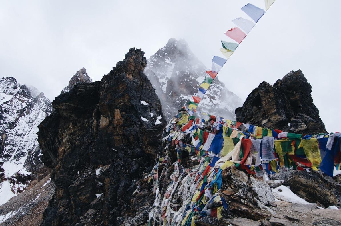 How to Trek the Three Passes Independently: renjo la prayer flags
